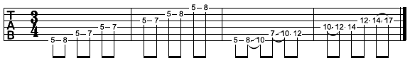 Pentatonic tablature